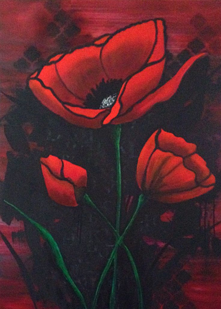 Abstract Poppies Tracy Davies Wired and Hung
