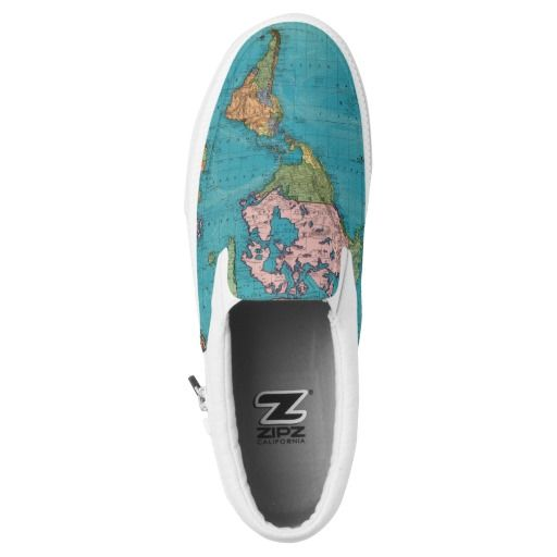 World, Mercator's Projection Printed Shoes. Been around the world, map style shoes.