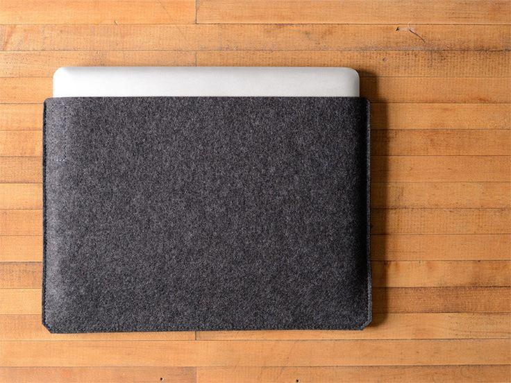 Simple MacBook Pro Sleeve - Charcoal Felt by byrd & belle