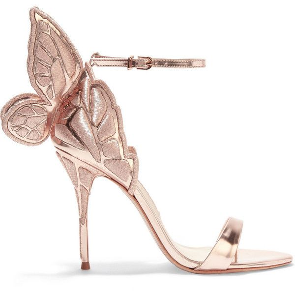 Sophia Webster Chiara metallic embroidered leather sandals found on Polyvore featuring shoes, sandals, heels, обувь, high heel shoes, floral print sandals, leather heeled sandals, metallic sandals and buckle sandals