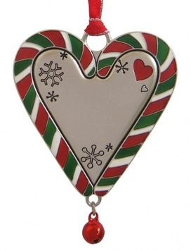 Christmas Ornament - CANDY CANE HEART - Personalised