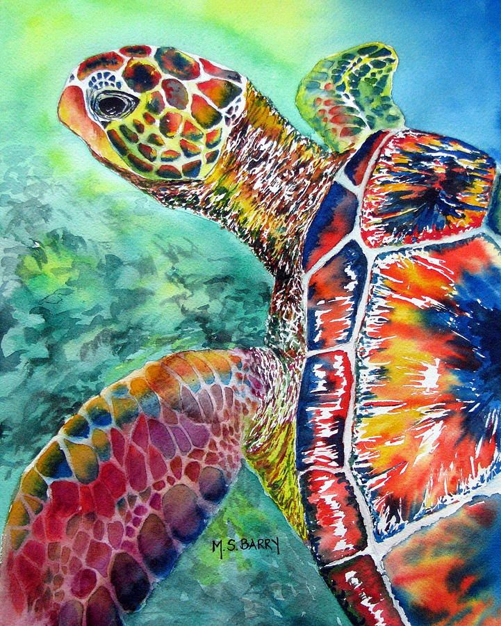 Myrtle The Turtle Painting by Maria Barry - Myrtle The Turtle Fine Art Prints and Posters for Sale Love this Turtle Art piece!