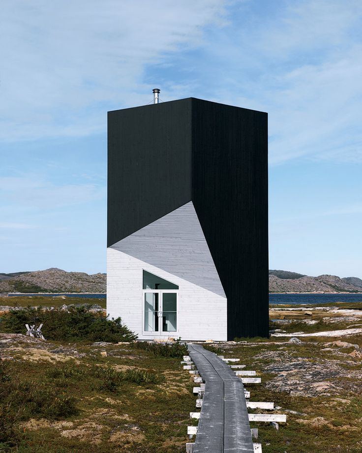 The Tower Studio has twists in it that makes it refractory, like a jewel made out of wood. One of four artist's dwellings designed by Todd Saunders for the rural renewal of Fogo Island initiated by Newfoundlander Zita Cobb.