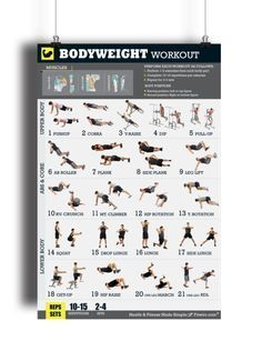 """It takes more than Just push-ups and pull-ups to get and stay in shape. This exercise and Bodyweight Workout Poster is a must have for at-home workouts, gym or health club. The Exercises illustrated in this poster make it easy to do simple no-equipment bodyweight workouts with the perfect form.Whether your fitness goal is to lose weight, burn body fat, develop your core, gain muscles and strength, or develop your """"six-pack abs"""", this body-weight """"Exercise Poster"""" is all you need to build the…"""
