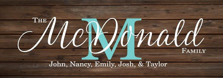 Personalized Custom Family Name Monogram Initial Sign Wedding, Shower, Birthday, Christmas Gift - With Family Members Names, Established Date and Year, Family Name