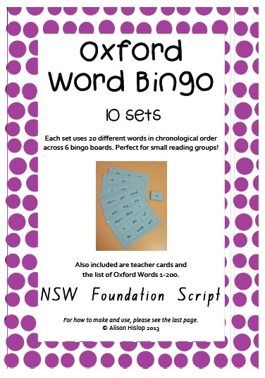 Oxford Word Bingos (1-200) - Sight Words NSW - This pack of 45 pages contains 10 sets of bingo games. Each set contains 20 words from the Oxford Word list in chronological order. Each set has teacher call out cards (laminate and cut between) and 6 bingo cards - perfect for small reading groups! My parent helpers loved being in charge of bingo!