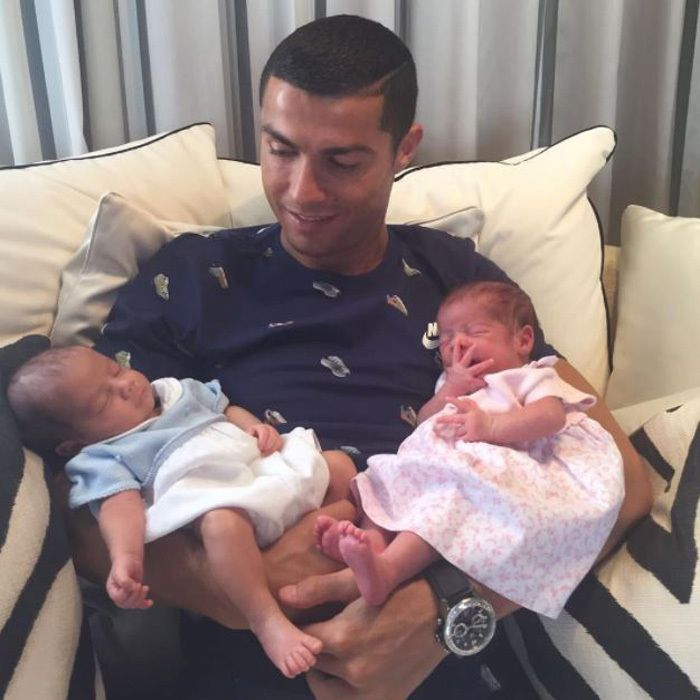 Cristiano Ronaldo  Cristiano Ronaldo's team has grown by two! The soccer player introduced his newborn twins — a boy and a girl — on Thursday, a day after revealing that he had become a father for the third time. The 32-year-old, who finally met his bundles of joy after losing to Chile in the FIFA Confederations Cup on June 28, made the exciting announcement on his Facebook account, Wednesday evening.  Hours later, the proud dad took to Instagram to share a photo of himself with his newborn…