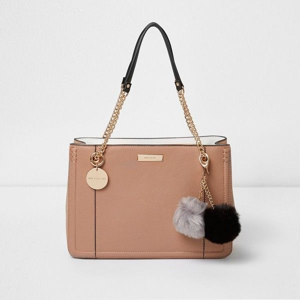 River Island Beige pom pom chain tote bag ($90) ❤ liked on Polyvore featuring bags, handbags, tote bags, bags / purses, beige, shopper & tote bags, women, tote hand bags, hand bags and purse tote bag