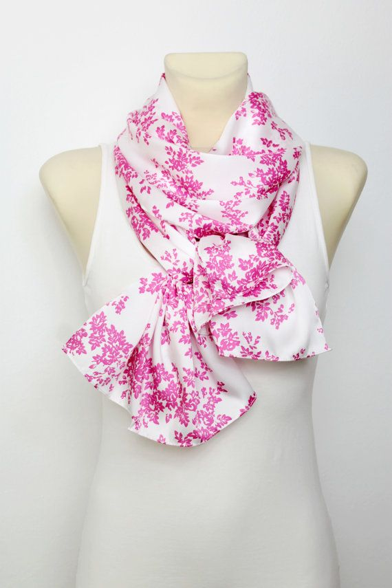 SALE White & Pink Floral Scarf  Fashion Scarf  by LocoTrends