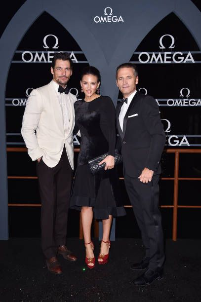 David Gandy (L), Raynald Aeschlimann (R) and Stephanie Mendoros attend the OMEGA Aqua Terra at Palazzo Pisani Moretta on October 28, 2017 in Venice, Italy.