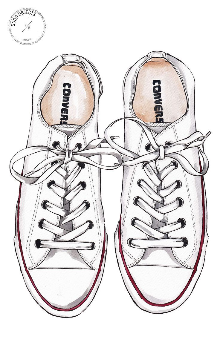 Good Objects Converse All Star White Sneakers Watercolor