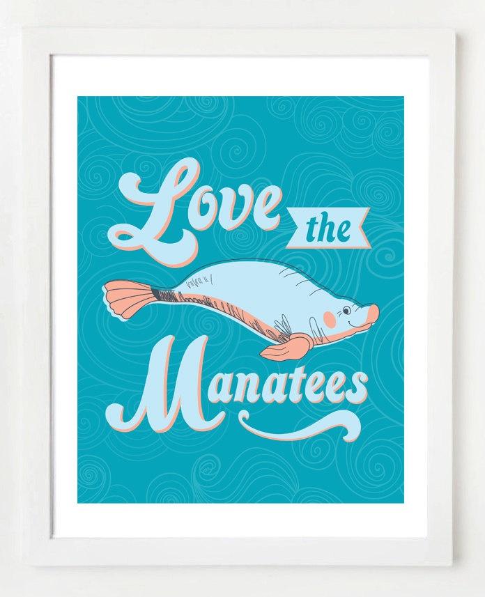 8x10 Manatee Wall Art Print. $12.95, via Etsy.
