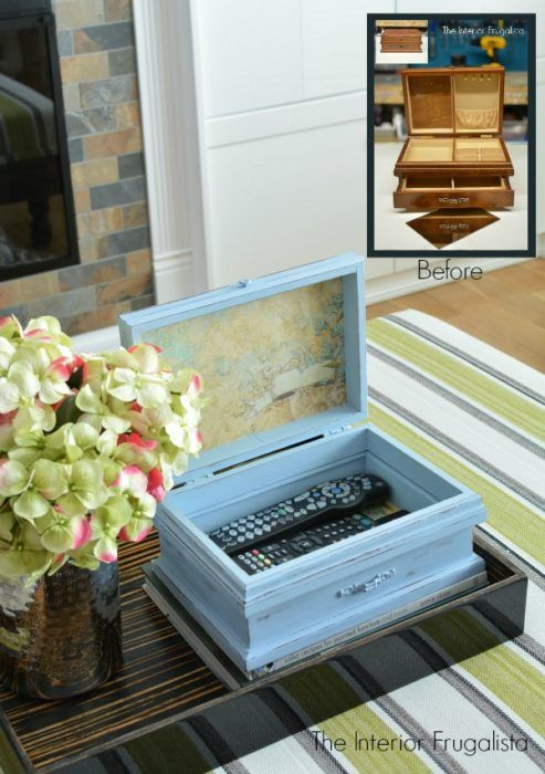 Trinket Box For Remotes Get that stylish interior decorator look at a fraction of the cost. Make this remote control storage box, with an upcycled jewelry box!