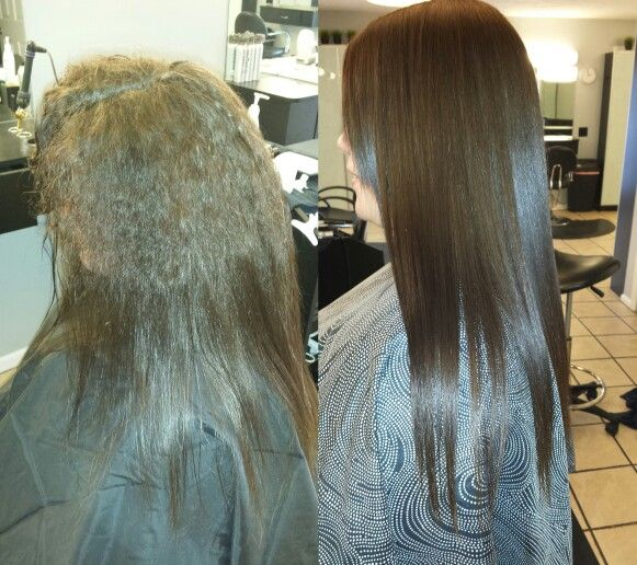 Salon envy.. before and after Rusk Keratin permanent straightener