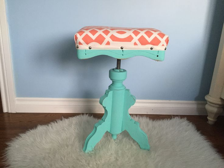 Antique piano stool chalk painted and reupholstered.