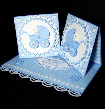 Baby Boy Twin Boys Double Twist Easel Card Kit in Card Gallery
