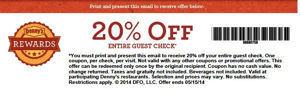 20% off your Entire Check at Denny's Coupon