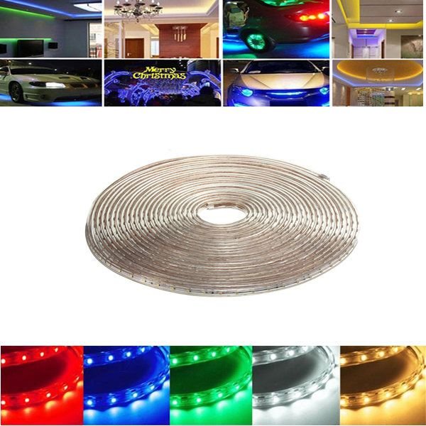 10M 35W Waterproof IP67 SMD 3528 600 LED Strip Rope Light Christmas Party Outdoor AC 220V