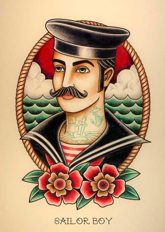 """SAILOR BOY. Ilustración inspirada en los tatuajes """"Old School"""" de los años 20."""