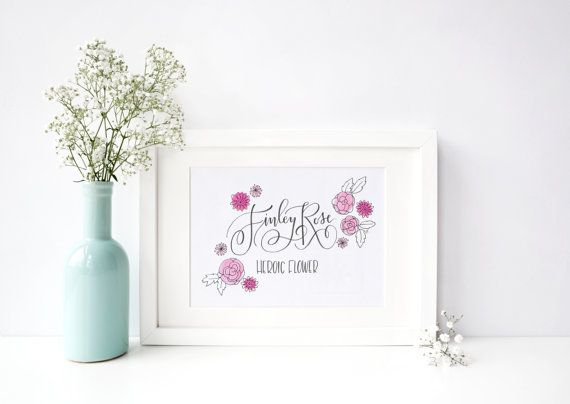 17 best name art images on pinterest boy nurseries name art and new baby name meaning flowers original hand lettered illustration 8x10 negle Gallery
