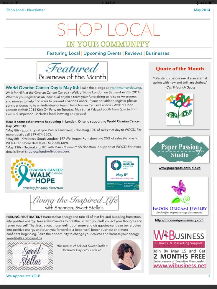 Shop Local's May Newsletter - Page 1