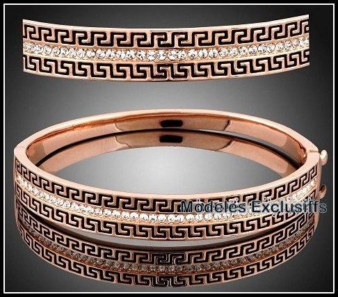 18K Rose gold and crystal greek design bangle. One size fits all.