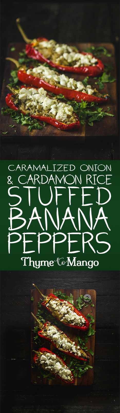 Get ready to stuff your face with the best side dish you have ever tasted with these caramelised onion and cardamon rice stuffed banana peppers