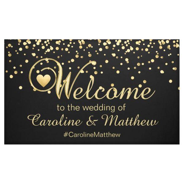 Elegant Gold Black Heart Welcome Wedding Banner Zazzle Com Wedding Banner Wedding Reception Banners Banner