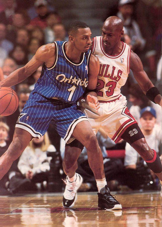 Michael Jordan guarding Penny Hardaway
