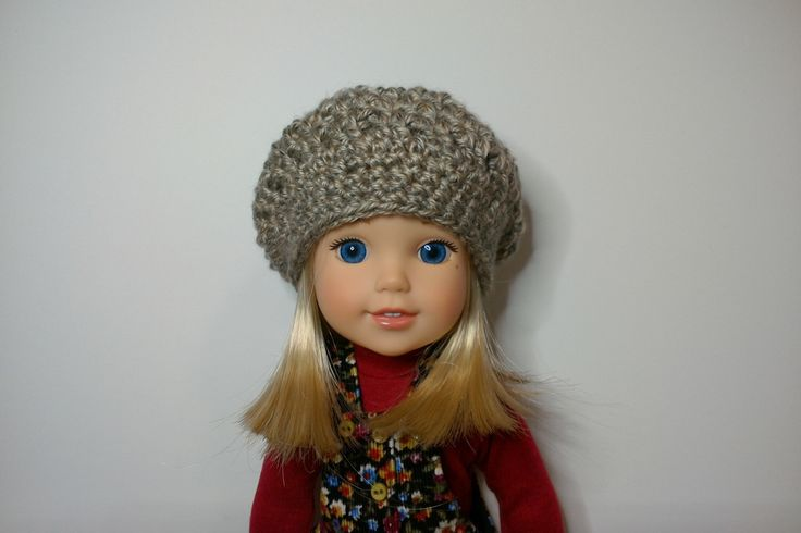 Neutral tone crochet slouchy hat for 14 inch dolls such as Wellie Wishers by HannahsDressUp on Etsy https://www.etsy.com/listing/494964185/neutral-tone-crochet-slouchy-hat-for-14