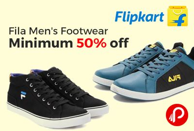 Flipkart is offering Minimum 50% off on Fila Men's Footwear including Casual Shoes and Sports Shoes.   http://www.paisebachaoindia.com/fila-mens-footwear-minimum-50-off-flipkart/