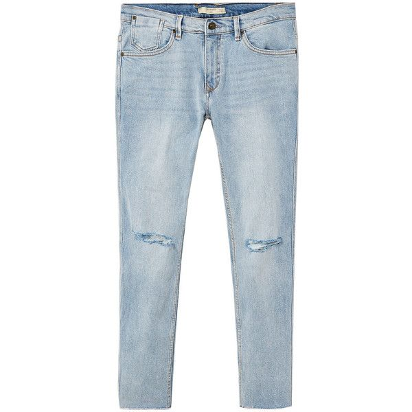 MANGO MAN Skinny ripped Dylan jeans ($70) ❤ liked on Polyvore featuring men's fashion, men's clothing, men's jeans, bleach blue, mens light wash skinny jeans, mens zipper jeans, mens super skinny ripped jeans, mens light wash jeans and mens ripped skinny jeans