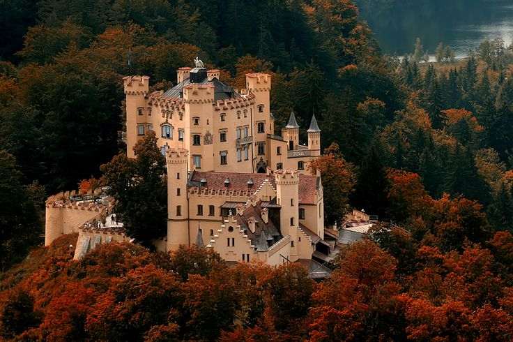 Hohenschwangau Castle! Located in southwestern Bavaria, Germany which is right next to Austria.  The other castle in the area is the castle that the Disney castle is modeled after :)