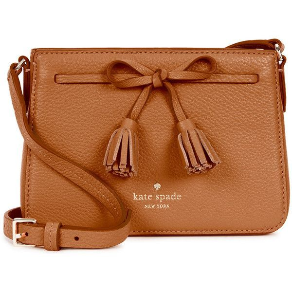 KATE SPADE NEW YORK Hayes Street Eniko Leather Cross-body Bag (£180) ❤ liked on Polyvore featuring bags, handbags, shoulder bags, purses, bolsas, leather shoulder handbags, crossbody handbags, leather crossbody purse, kate spade shoulder bag and brown crossbody purse