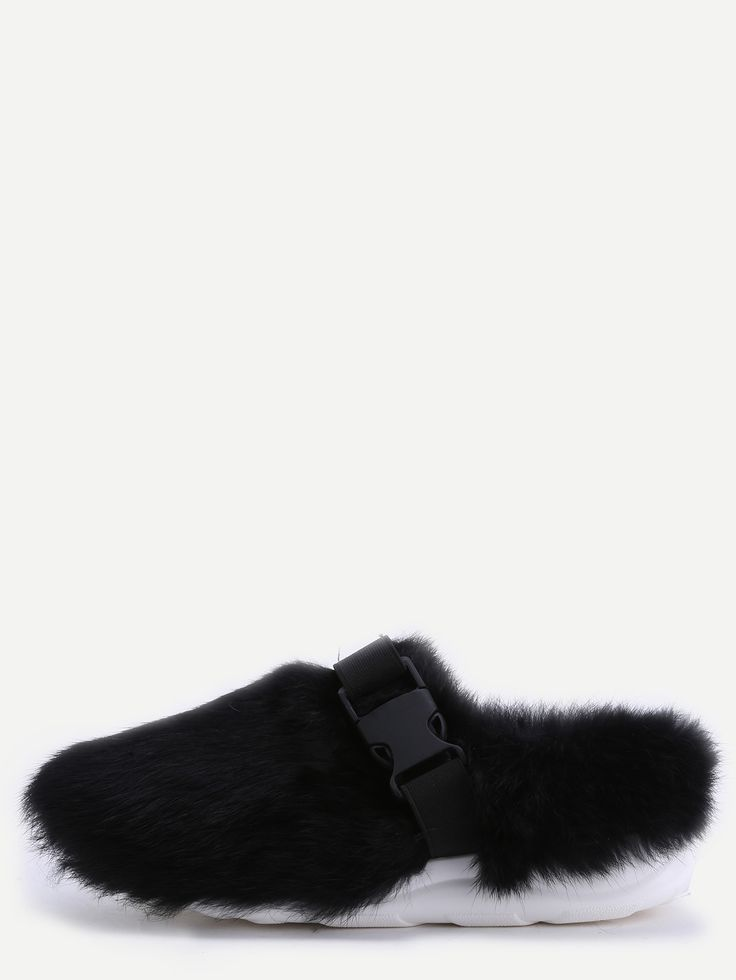 Shop Black Rabbit Hair Buckle Strap Soft Sole Slippers online. SheIn offers Black Rabbit Hair Buckle Strap Soft Sole Slippers & more to fit your fashionable needs.