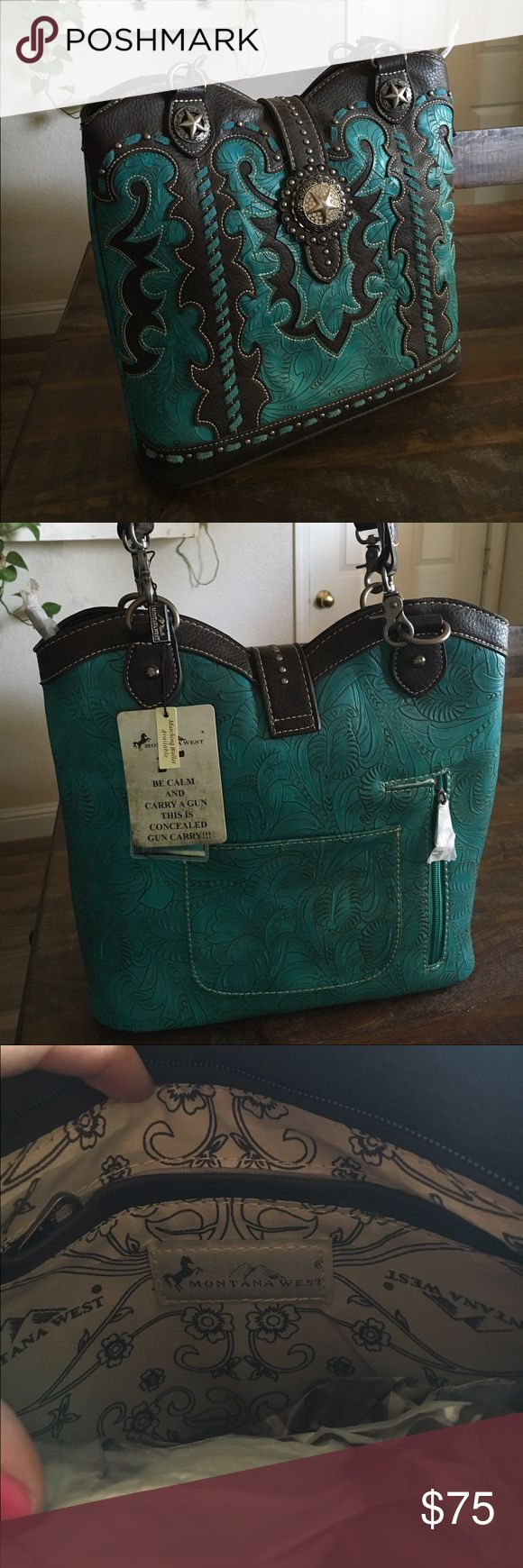 Conceal Carry Purse Brand New with tags, turquoise and black leather Montana West Conceal Carry Purse Montana West Bags Shoulder Bags
