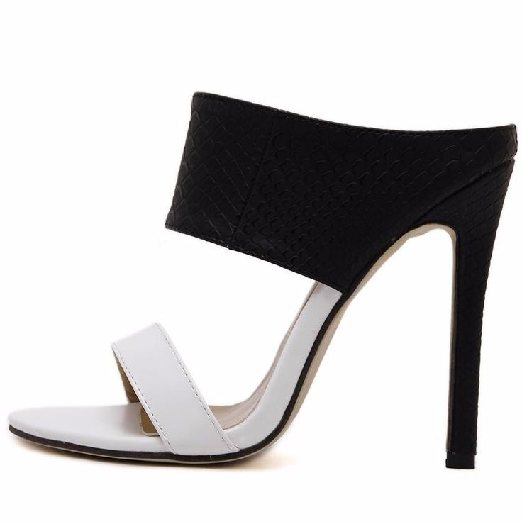 Summer Shoes Woman Pumps High Heels 11cm Zapatos Mujer Thin Heels Slippers Black+White Color Party Wedding Shoes Ladies Shoes-in Women's Pumps from Shoes on Aliexpress.com | Alibaba Group