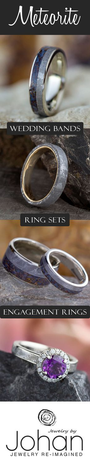 Go with a stellar wedding band or engagement ring with our Genuine Meteorite Wedding Rings. Combine with our other unique material inlays like wood, antler and dinosaur bone for an exceptionally awesome and   custom piece.