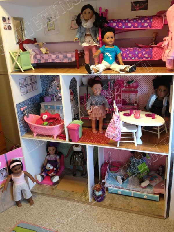 "American Girl Dollhouse DIY for $150. 18"" Doll Room Furniture Free Instructions CamisCraftCorner.com American Girl Dollhouse DIY for $150 Camis Craft Corner - Dolls 