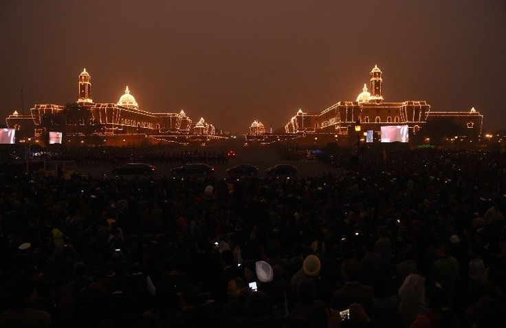 <p>Indian government are seen lit up by lights during the Beating Retreat ceremony in New Delhi on January 29, 2016. The ceremony is a culmination of Republic Day celebrations and dates back to the days when troops disengaged themselves from battle at sunset. </p>