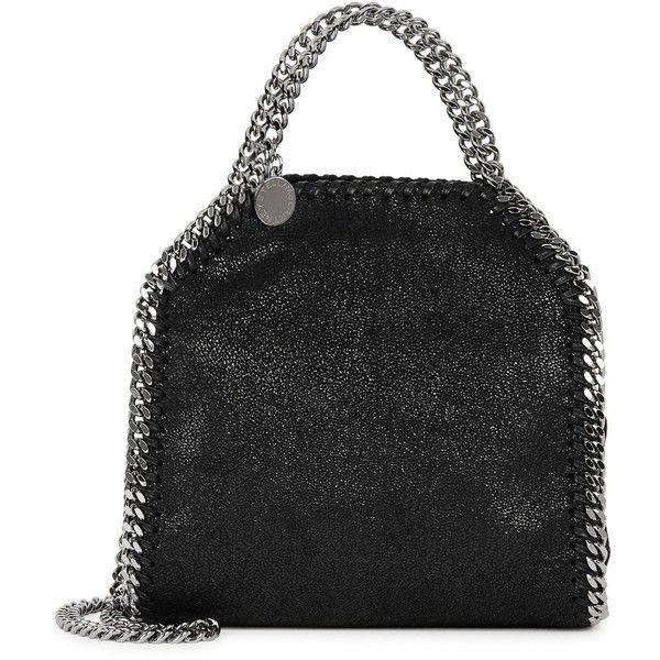 Stella McCartney Falabella Tiny Black Faux Suede Tote (€555) ❤ liked on Polyvore featuring bags, handbags, tote bags, handbag tote, stella mccartney, chain strap handbags, chain purse and snap purse