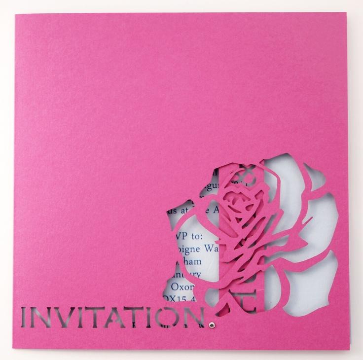www.intricatecreations.co.uk - English Rose Laser-Cut Wedding Invitation