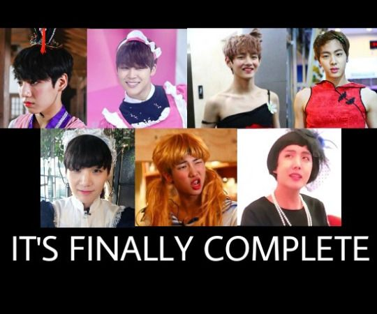 medieval prostitute, a maid, lady bug, a literal chinese lady who don't need no man, a maid again, fucking sailor moon and (the most awaited) ARMY mom. i present to you bangtan!