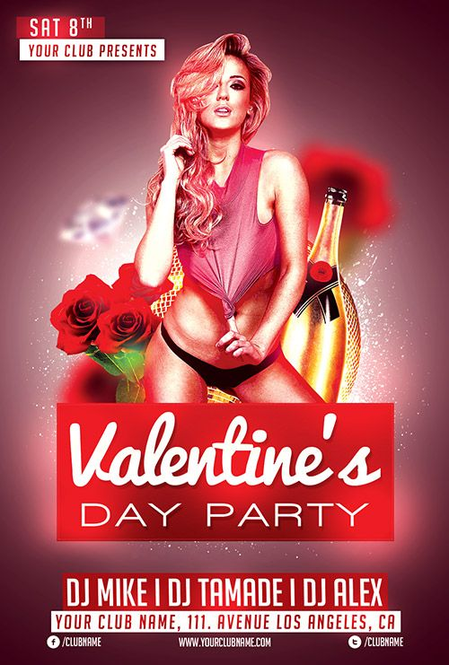 Free Valentines Day Flyer Template - http://freepsdflyer.com/free-valentines-day-flyer-template/ This Free Valentines Day flyer template was designed to promote Valentine's day party events. This print ready free flyer template includes a 300 dpi print ready CMYK file. All main elements are editable and customizable.  #Club, #Dance, #Deluxe, #Glamorous, #Lounge, #Night, #Nightclub, #ValentinesDay, #Vday