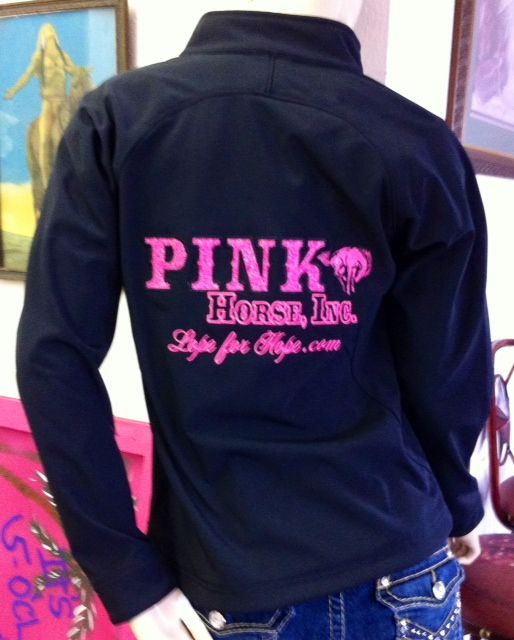 Soft shell riding jacket embroidered pink horse inc logo