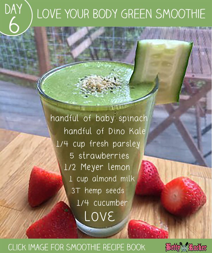 Love Your Body Green Smoothie :) REPIN and share if you LOVE your body and LOVE green smoothies! Click the Image to Get My Smoothie Recipe Book!