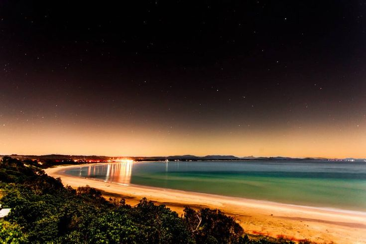 Full moon bringing light to the Byron Bay, New South Wales