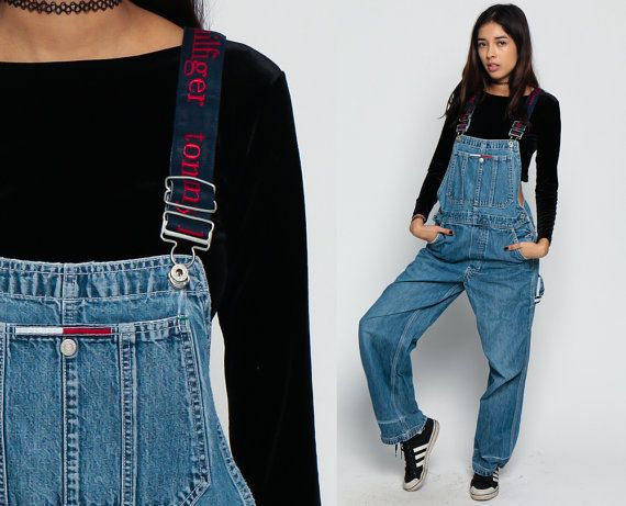 Tommy Overalls Pants TOMMY HILFIGER Women 90s Denim by ShopExile
