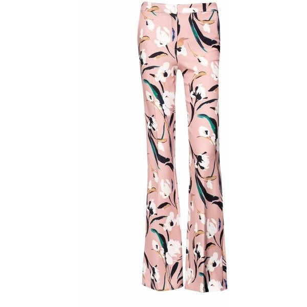 Nissa - Straight Trousers in Floral Print (369 AUD) ❤ liked on Polyvore featuring pants, floral pants, nissa jewelry, flower print pants, floral printed pants and floral print trousers