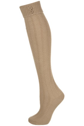 Camel Button Top Knee Socks
